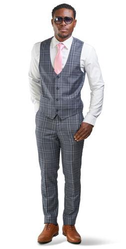 Slim Fit 2 Button 3 Piece Vested Mens Suit Slate Gray Windowpane 35071 AZARMAN