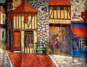 Stretched-Quality-Hand-Painted-Oil-Painting-European-Storefront-Series-X-36x48in