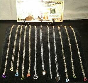 MAKE-OFFER-GOLD-100-Rep-Banknote-12-GOLD-amp-SILVER-BEAUTIFUL-HEART-Necklaces