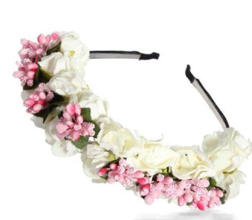 Pink White Flower Floral Boho Bridal Wedding Festival Garland Hairband Headband