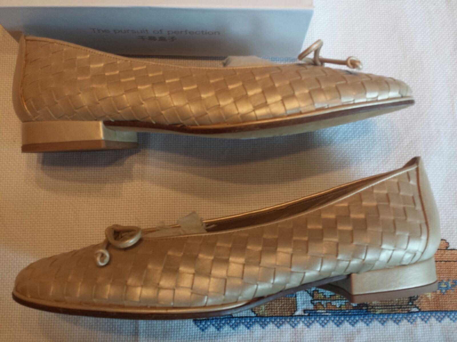 Stuart Weitzman Weitzman Weitzman Perla Tejido Arco Ballet Zapatos sin Taco Sin tamaño 7.5 hecho en España 971a8f