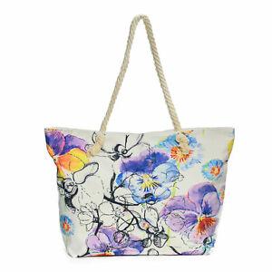 Damentasche-Strandtasche-Bunt-Blumenmuster-Sommer-Tasche-Badetasche-Urlaub-Neu