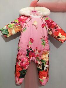 4afc9742394 Baby Girls Designer Ted Baker Pink Floral Emily Rose Snowsuit 3-6m ...
