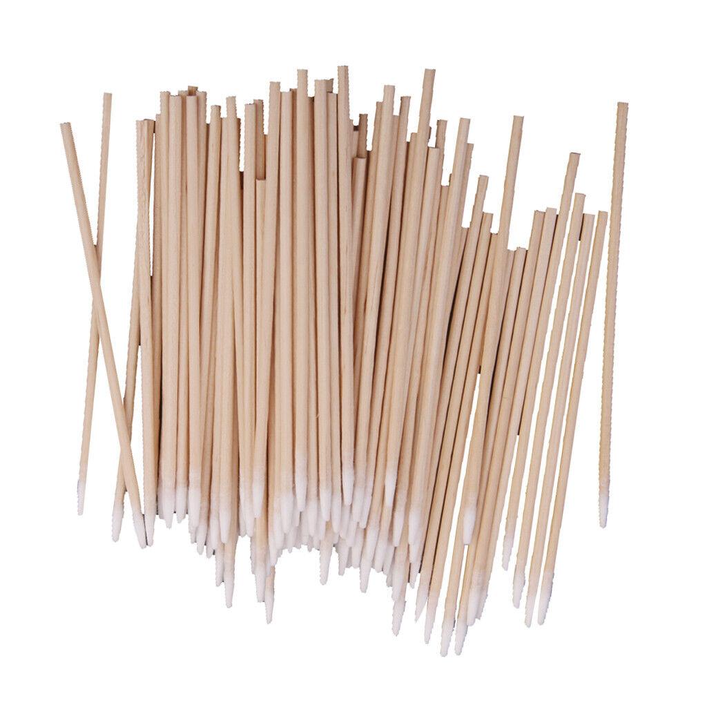 100 Holzgriff BAUMWOLLE SWABS PUNKTTIPP Labor Chemisches Reinigungswerkzeug
