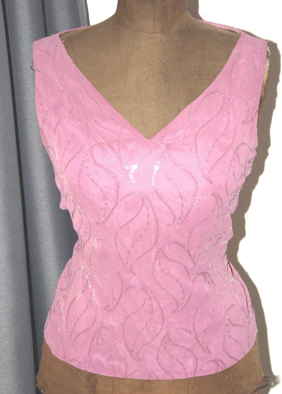 Top à sequins de Farbe vieux Rosa Adolfo Dominguez 42   L.