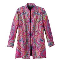Colorful Travelsmith Brocade Mandarin Jacket 8/10 Pinks Aqua Green