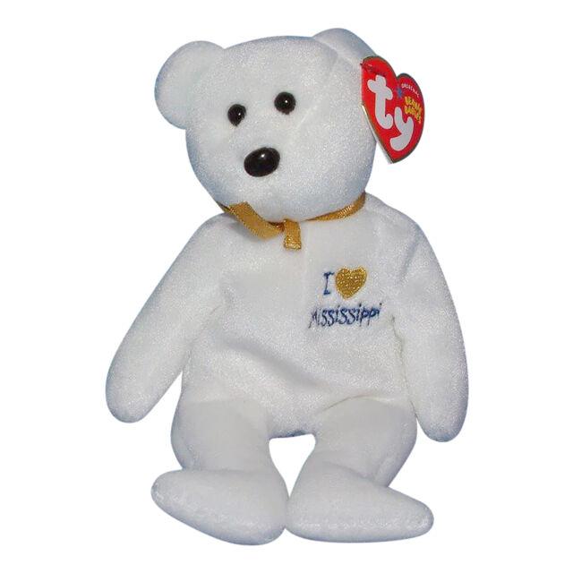 I Love Mississippi 2005 Ty Beanie Babie 8in White Bear Boys Girls ... b462e4b845cf