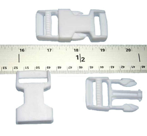 50-1 Inch White Side Release Plastic Buckles