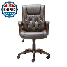 Leather High Back Executive Office Chair Computer Desk Rolling Heavy Duty Brown