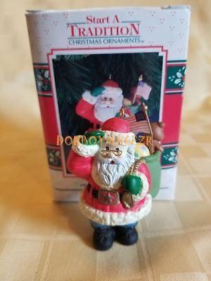 Patriotic Christmas Ornaments.Enesco 1992 Salute The Season Santa Flag Patriotic Christmas Ornament Ebay