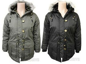 LADIES-PLUS-SIZE-THICK-PADDED-FUR-HOODED-PARKA-JACKET-QUILTED-WINTER-COAT-18-26