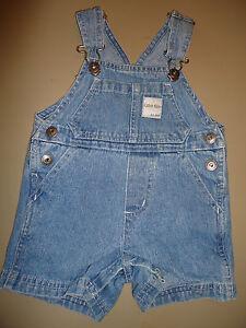 Calvin-Klein-infants-denim-jean-overalls-one-piece-snap-bottom-size-3-6-months
