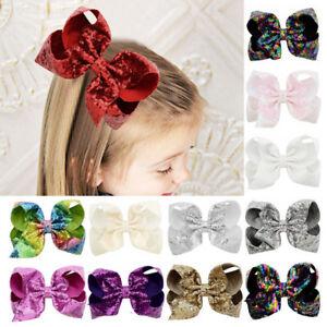8 inch Big Sequin Hair Bow Alligator Clips Headwear Girls Hair Accessory Gift