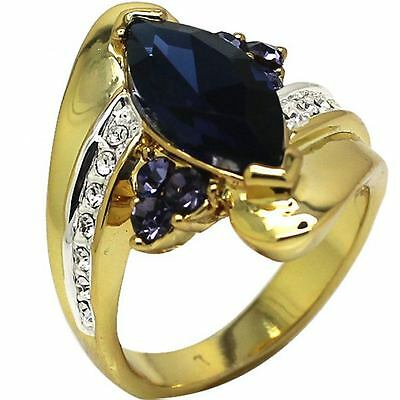 Size 5-11 18K Gold Plated Wedding Ring Sapphire Engagement Heart Blue Gemstones