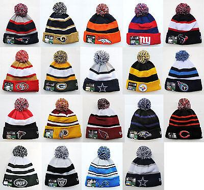 NFL Sports Knit  Pom Top Cuffed Beanie Winter Cap Hat Authentic New Era
