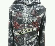 Sinful Womens Hoodie Rockabilly Roses Cross Dagger Rhinestones Black Gray Large