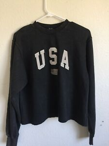c9604302810 brandy melville faded black crop Nancy USA embroidery sweatshirt NWT ...