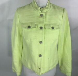 Banana-Republic-Women-039-s-Cropped-Jacket-SZ-6-Citron-Lime-Green-Raw-Hem-NWT