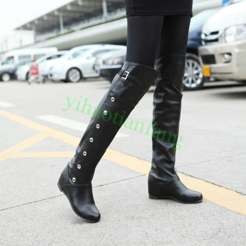 HOT womens over knee high boots Casual faux leather Riding shoes BUckle Button