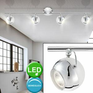 LED Wand Decken Rondell Lampen Dielen Chrom Glas Spot Kugel Leuchten schwenkbar