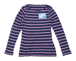 George-Womens-Size-12-Striped-Cotton-Blue-Top-Regular