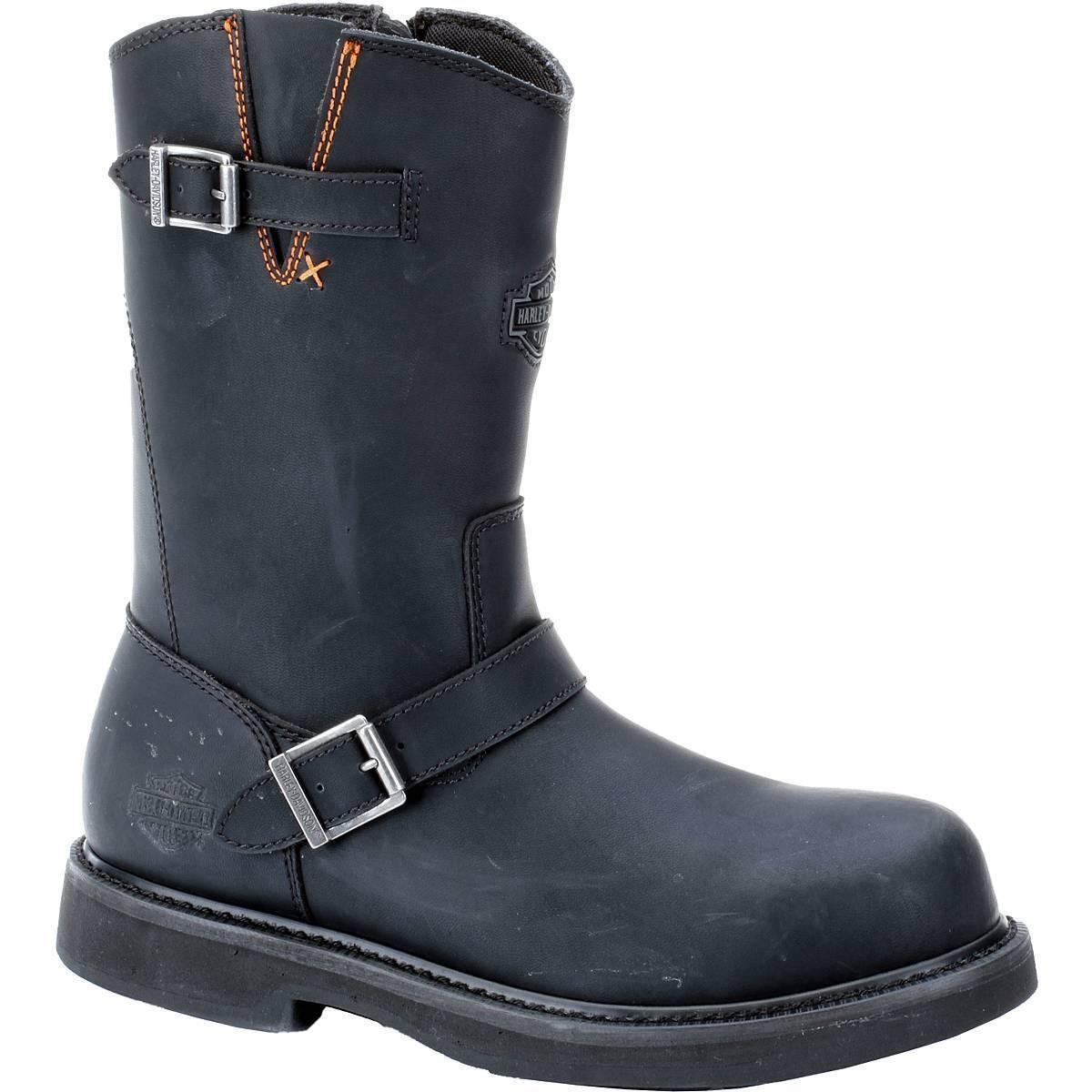 Harley-Davidson Men's JASON STEEL TOE Leather Black Boots D93120