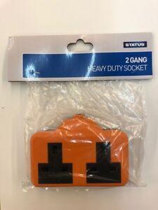 Heavy Duty caoutchouc Extension Plomb de fuite Socket Fin Double 2 Gang 13 Amp