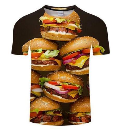 New Fashion femmes//hommes Cheese Burger 3D Imprimé Hip Hop Ras du cou Casual T-Shirt