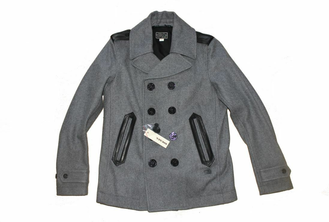 DIESEL WEDE GREY PEACOAT SIZE XL 100% AUTHENTIC