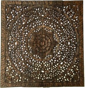 Large Square Wood Carved Floral Wall Art Panel Tropical Home Decor