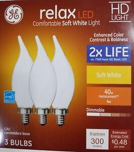 Details About 3 Pack Ge Led 40w Equivalent Soft White 2700k Hd Light Bent Tip Candelabra Bulb