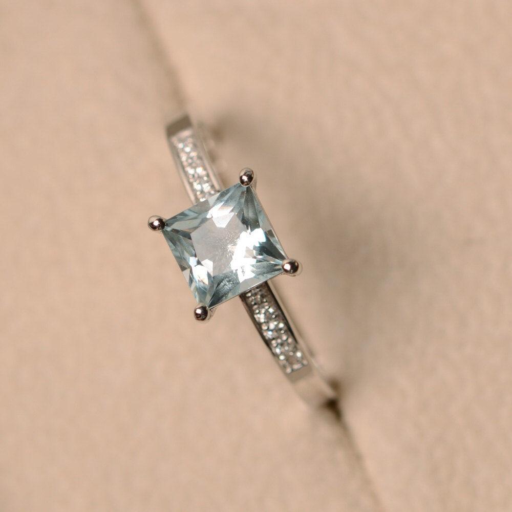 14K White gold 1.40Ct Princess Natural Aquamarine Diamond Wedding Ring Size 6 7