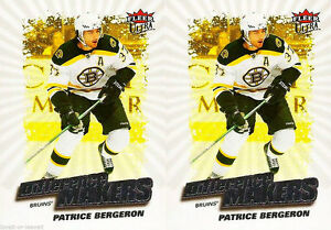 2x-ULTRA-FLEER-2008-PATRICE-BERGERON-BOSTON-BRUINS-DIFFERENCE-MAKERS-DM17-LOT
