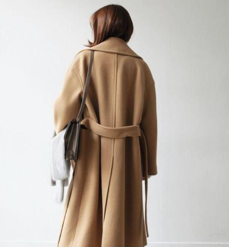 Womens Long Loose Coat Wool Blend Cashmere Outwear Slim Fit Thicken Vintage R07