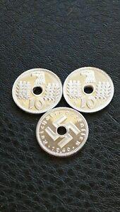 Joblot-Three-New-Germany-Third-Riech-1940-Military-Issue-10-Pfennig-Berlin-Coins