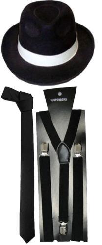 Nouveau Homme Garçons 1920 S Chapeau Cravate Bretelles Gangster Roaring Pimp Fancy Dress Accessoires