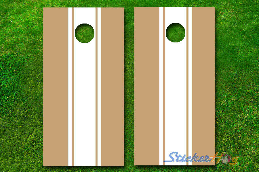 VINYL WRAPS 2 color Striped Cornhole Boards DECALS