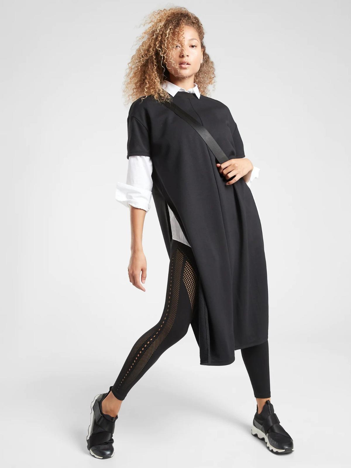 Details about  /ATHLETA Presidio Dress M MEDIUM Black LIGHTWEIGHT Commute Work