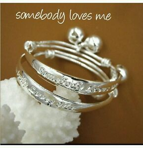 Image Is Loading 1 BABY SILVER SOMEBODY LOVES ME BANGLE BRACELET