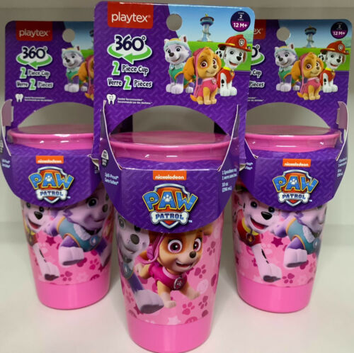 Playtex 360° Spoutless Cups Pink Lot of 3 Paw Patrol Sippy Cups 10 oz.