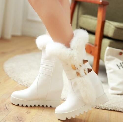 Details about  /Muk15 Winter Womens Fur Warm Snow Boots Furry Outdoor Hidden Heels Shoe Buckle P