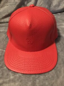 Image is loading Stussy-Leather-Hat-Red 2fba6433d73