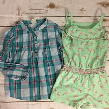 Lot of Girls Clothing Old Navy Plaid Shirt Circo Flamingo Romper Size 5T