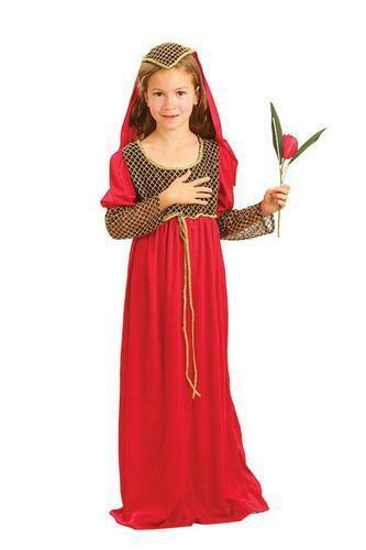 Girls Juliet Fancy Dress Kids Medieval Book Character Childrens Kids Costume