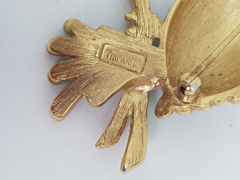 RARE vintage firmato TRIFARI spilla di Gufo Tono oro oro oro Blu verde Smalto 1960 Ruby 8ce2d2
