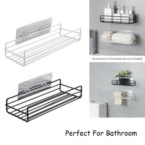 Adhesive Wall Mounted Shampoo Holder Bathroom Shelf Storage Rack Organizer