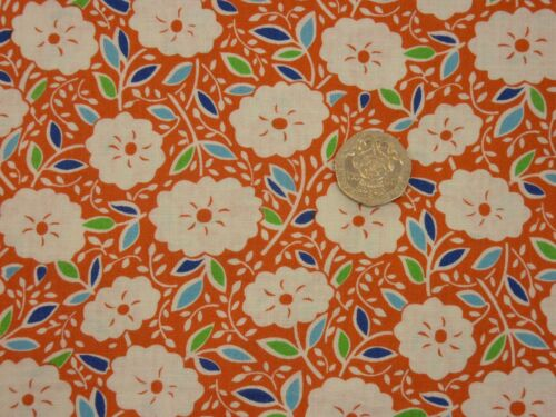 Quilting Fabric White Flowers Green Blue Leaves Orange BGFQsOF4
