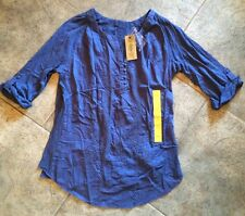 NWT Womens NINE WEST Twilight Blue Laelia Lace Front 3/4 Sleeve Shirt Sz S Small