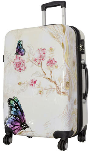 Coque rigide valise Voyage Trolley 4 Roulettes dehnfalte Motif Asia Butterfly Taille L