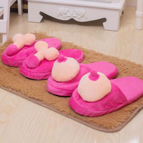 Creative Breast Penis Pattern Unisex Cozy Soft Skid-proof Indoor Slippers Ut FE